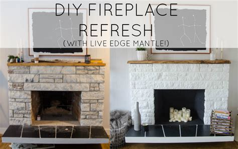 refresh brick fireplace remodelaholic diy fireplace update with live edge wood mantel