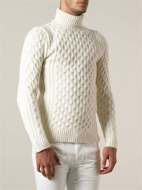 white knit sweater mens diesel cable knit turtleneck sweater in white for lyst