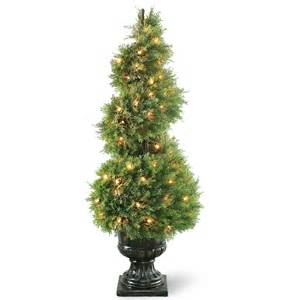national tree co pre lit juniper spiral topiary in urn