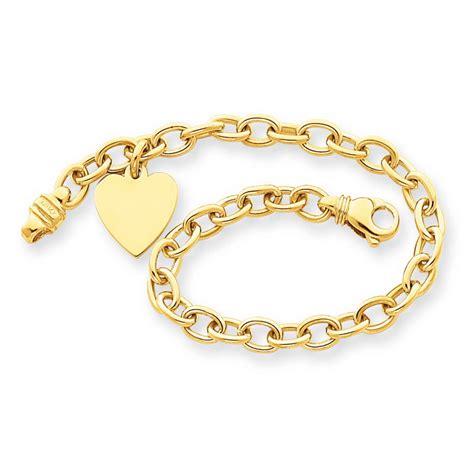 14k yellow gold 7in link w charm bracelet qglk312