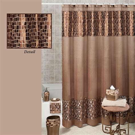 material shower curtains bronze mosaic stone fabric shower curtain