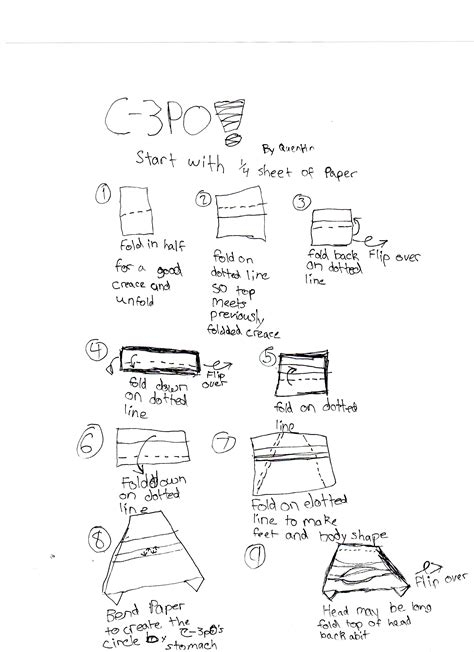 How To Make An Origami Chewbacca - c3po 1 origamiyoda