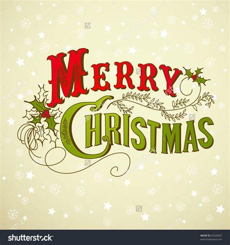 vintage christmas card merry christmas lettering stock vector illustration  retro