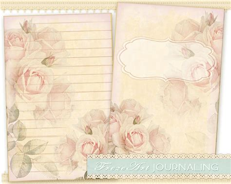 Pink Craft Paper - pink roses journal pages diary pages printable paper craft