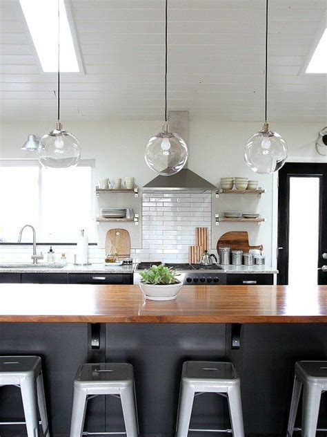 kitchen ideas clear glass pendant light lights above