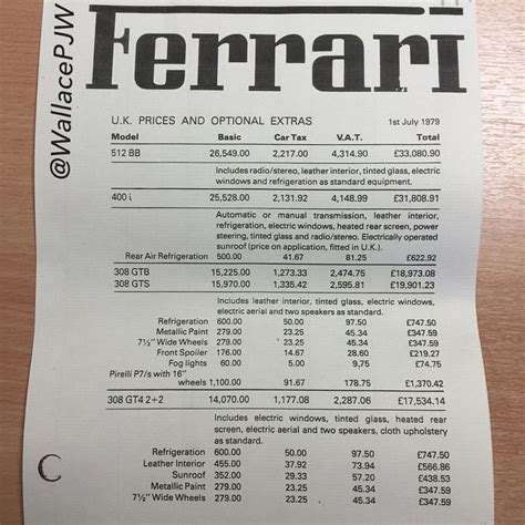 Ferrari Preisliste by Sb Race Discovered The Uk Official Ferrari Price List