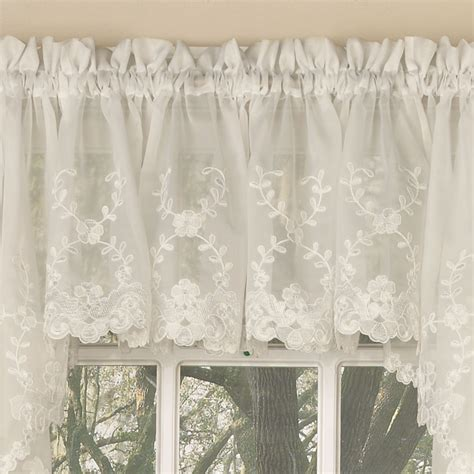 Laurel Leaf Sheer Voile Embroidered Ivory Kitchen Curtains Embroidered Kitchen Curtains