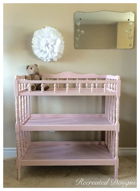 A Pink Wooden Change Table Recreated Designs Pink Changing Table