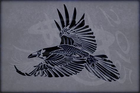 raven tribal tattoo tribal design corvus corax v1 by amoebafire on