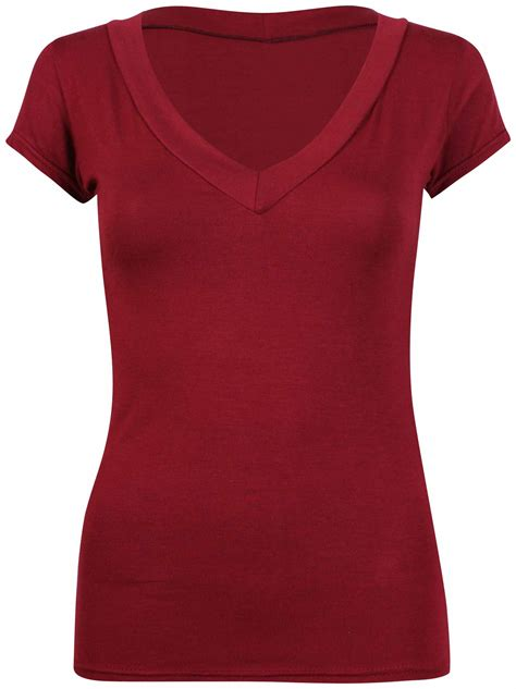 Sleeve V Neck Plain T Shirt cap sleeve plain top womens new stretch