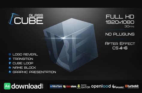 template after effects project glass cube project after effects project videohive
