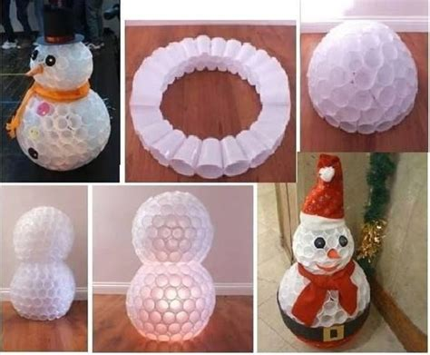 how to mske christmas ornaments with plastic cups diy snowman using plastic cups