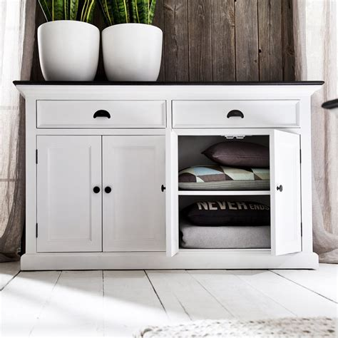 halifax contrast buffet table 2 drawers pure white