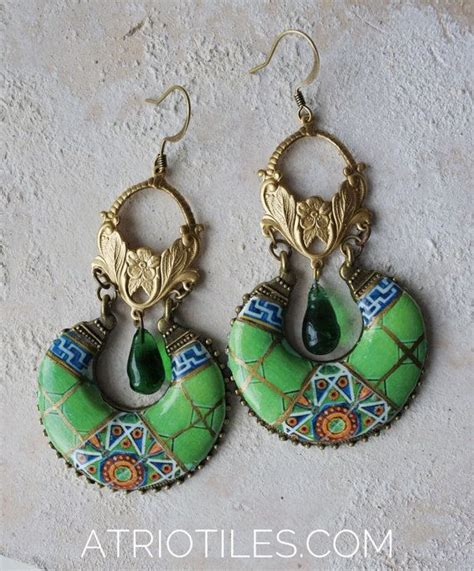 azulejo earrings portugal antique azulejo tile green chandelier earrings