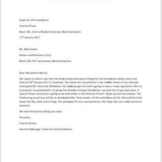 Event Cancellation Notice Letter Formal Official And Professional Letter Templates Part 6