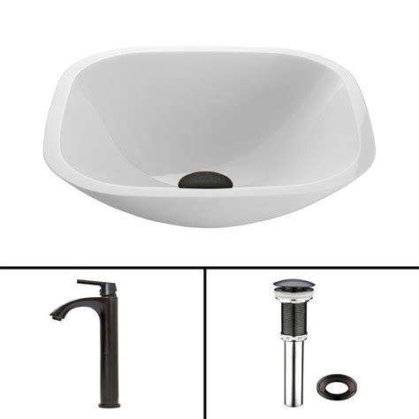 Black And White Vessel Sink by Vigo Glass Vessel Sink In White And Duris