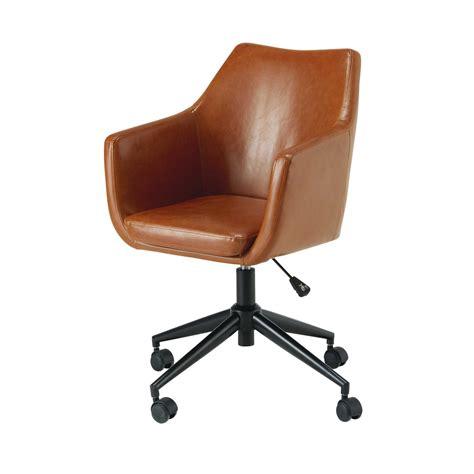 maison du monde chaise de bureau fauteuil de bureau en textile enduit marron vieilli davis