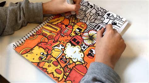 colours  fire doodle time lapse vexx style doodle