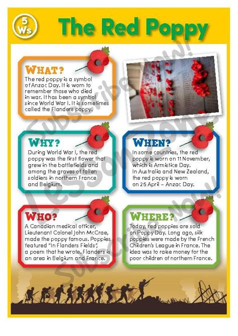 unit 6 resources themes in american stories anzac the red poppy poster from lesson zone this is one