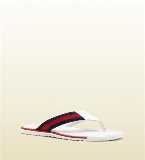 white gucci sandals gucci white leather sandal in white for lyst