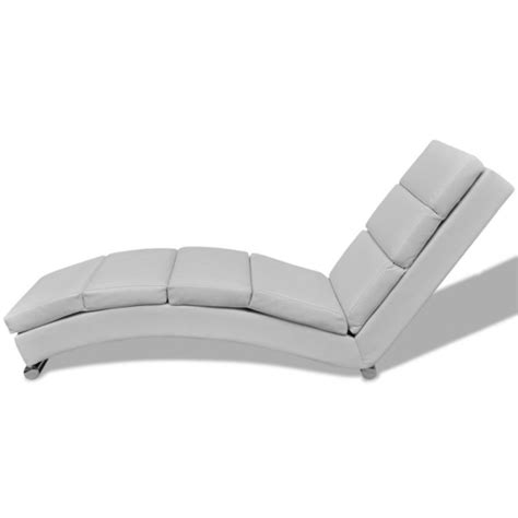 chaise lounge bar faux leather chaise lounge w steel foot bar white buy