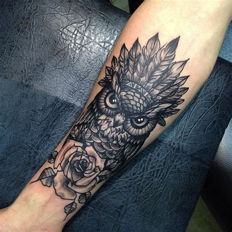 Owl Tattoo Unterarm | owl and rose tattoo artwork tattoos pinterest eulen