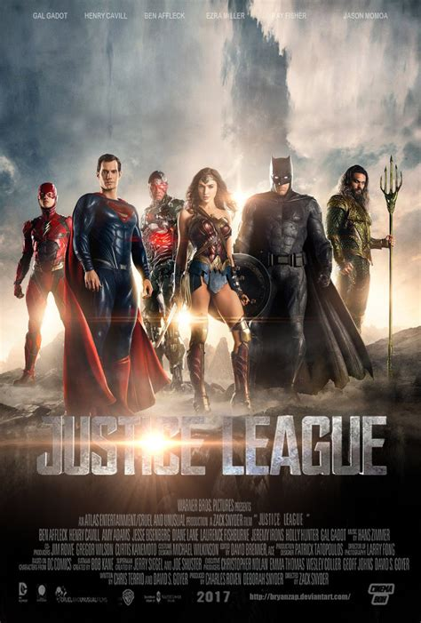 film justice league tayang justice league movie poster by bryanzap on deviantart