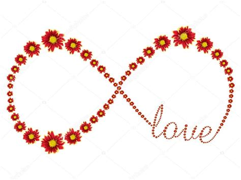 infinity symbol text infinity symbol of flower and text isolated on