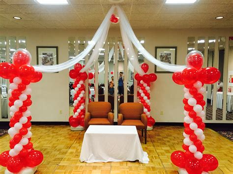 Column Decoration Ideas by Balloon Decorations Four Columns Connected By Lenins