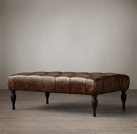 restoration hardware leather ottoman restoration hardware 48 quot bennett rectangular leather