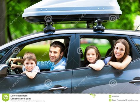 family auto family sitting in the car stock photo image of carn