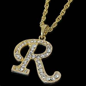 alphabet initial letter r gold plated clear