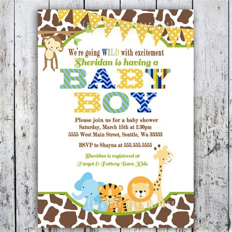 Animal Themed Baby Shower Invitations by Safari Baby Shower Invitations Jungle Animal By