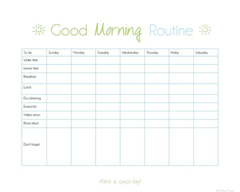 daily routine checklist template 12 best images of in the morning to do list chart