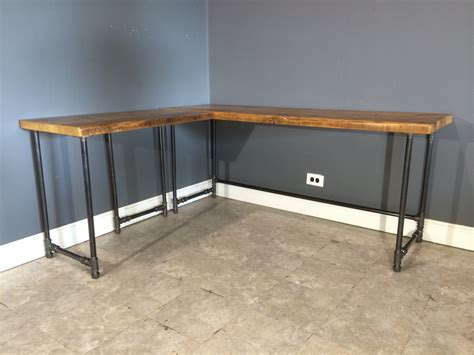 Reclaimed Wood Desk Diy Furniture Reclaimed Wood Corner Desk Which Furnished With Metal Pipe Pedestal Bases As Well As