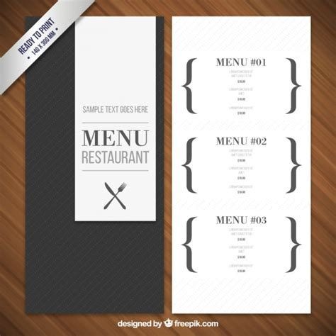 modern menu template vector free download