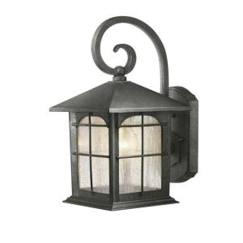 Home Depot Outdoor Lights by Hton Bay 1 Light Aged Iron Outdoor Wall Lantern Y37029