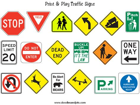 printable road signs and meanings schedule