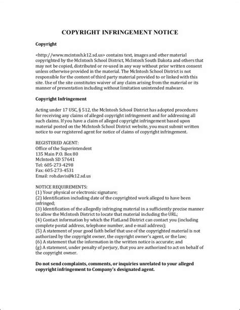 Copyright Infringement Notice Template 4 notice of copyright infringement word pdf