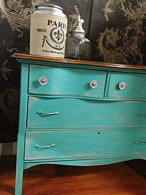 chalk paint furniture turquoise blue from farmhousefare on etsy