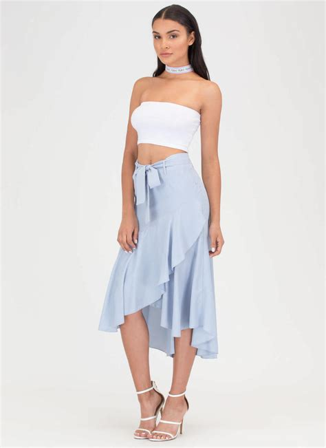 flow your own way high low midi skirt black ltblue