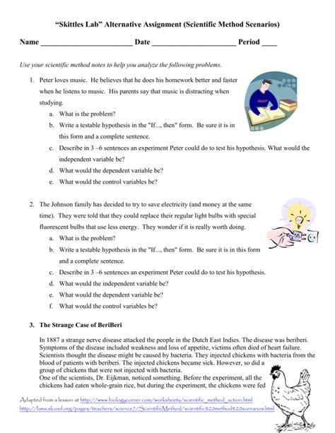 scientific method practice scenarios worksheet answers
