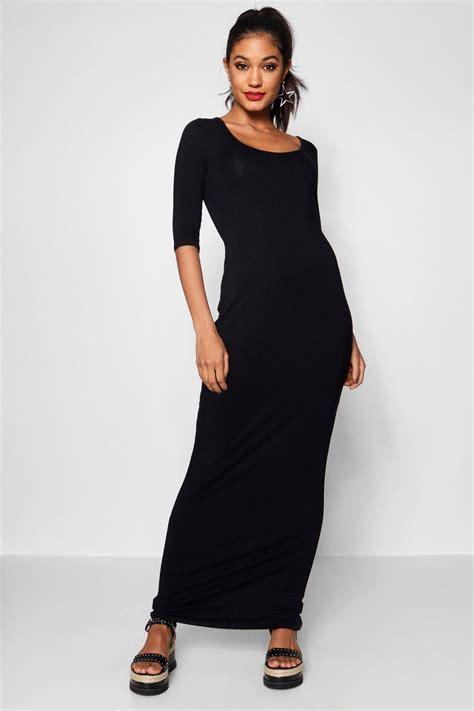 Maxi Dres 3 boohoo womens shelly 3 4 sleeve scoop neck maxi dress ebay