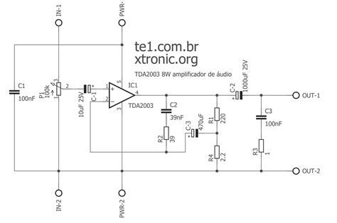 circuit of power audio lifier with ic tda2003 for 10 watt
