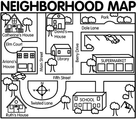 neighborhood map for map dictation activity preschool