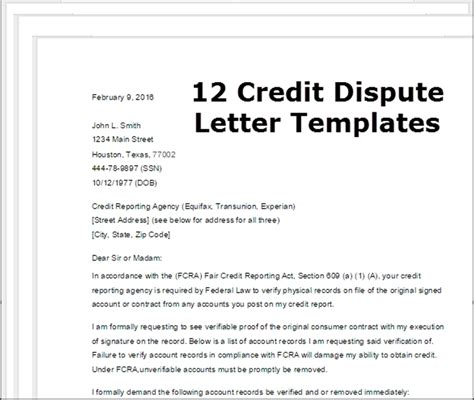 Templates For Credit Letters Credit Dispute Letter Template Letter Template 2017
