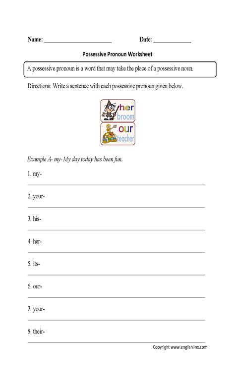 parts speech worksheets pronoun worksheets