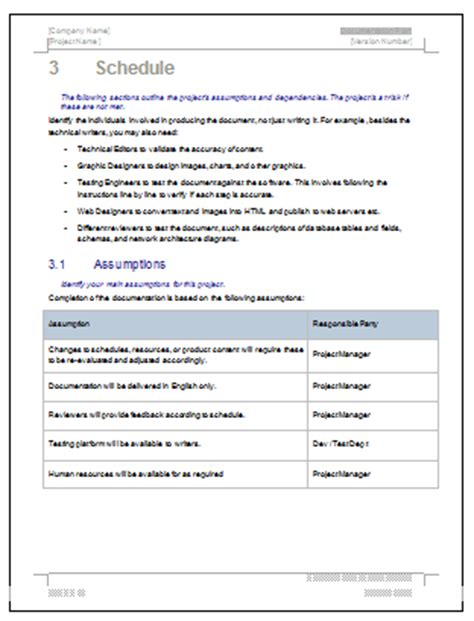 project technical documentation template documentation plan ms word template for software project