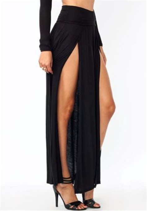 Black Floor Length Skirt by All Black Irregular Slit Floor Length Fashion
