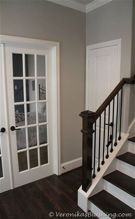 wall paint color revere pewter benjamin like it with the white and staircase